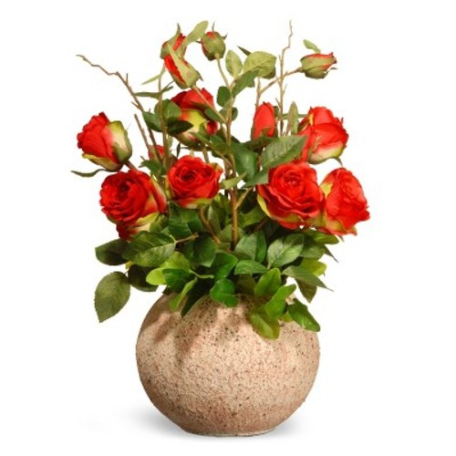 Artificial Potted Rose Flowers Red 18