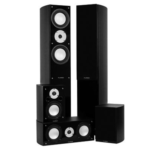 Fluance XLHTBBK High Performance 5 Speaker Surround Sound Home Theater System - Black Ash
