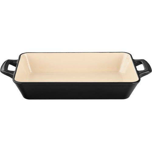 La Cuisine Medium Deep Cast Iron Roasting Pan with Enamel Finish in Black