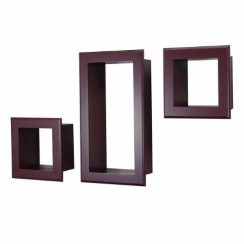 AZ Home and Gifts nexxt Framed Cubbi 10 in. x 18 in. MDF Wall Shelf in Mahogany (3-Piece)