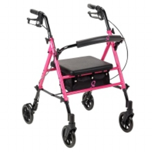 Drive Medical Breast Cancer Awareness Adjustable Height Rollator Pink