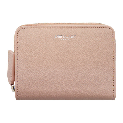 SAINT LAURENT Pink Rive Gauche Compact Zip Around Wallet