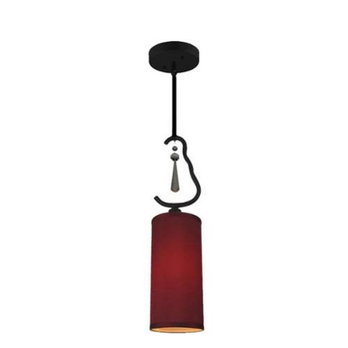 Woodbridge Lighting 14223-S10403 1 Light Single Mini Pendant with Red Fabric Shade and Crystal Accent from the Haley Collection
