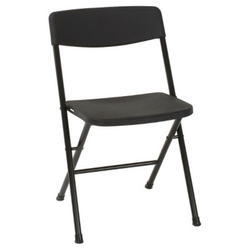 Cosco Resin 4-Pack Folding Chair with Molded Seat and Back, Black [Folding Chair]
