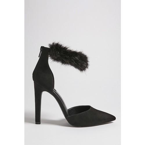 Faux Fur Ankle Strap Heels