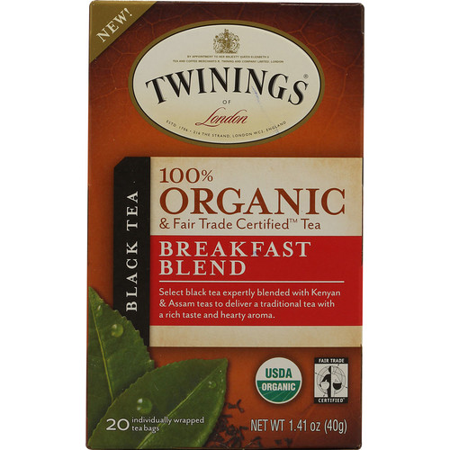 Twinings 100% Organic Black Tea Breakfast Blend -- 20 Tea Bags