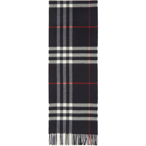 BURBERRY Navy Giant Check Scarf