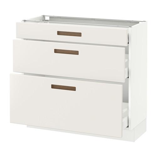 SEKTION Base cabinet with 3 drawers, brown Frvara, Grimslv medium brown
