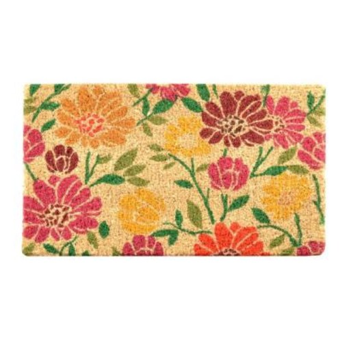 HomeTrax Designs Outdoor Spring Daisies 1 ft. 6 in. x 2 ft. 6 in. Coir Door Mat