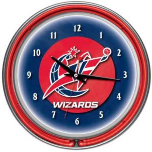 Trademark Global 14 in. Washington Wizards NBA Chrome Double Ring Neon Wall Clock