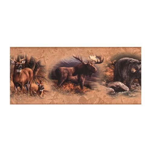 York Wallcoverings Lake Forest Lodge WD4305B North American Animal Border, Golden [Brown .196, Border]