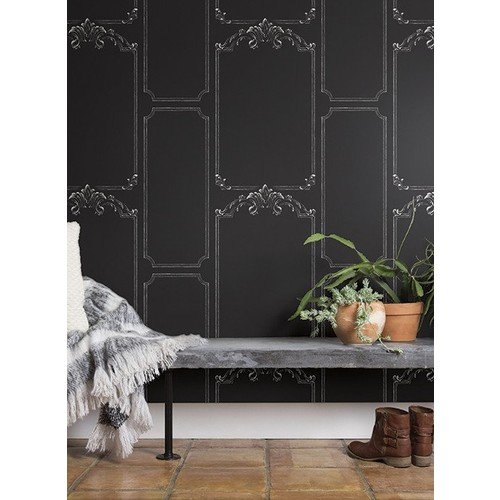 Chalkboard Wallpaper in Black from the Magnolia Home Collection by Joanna Gaines - 2 [Quantity : 2]