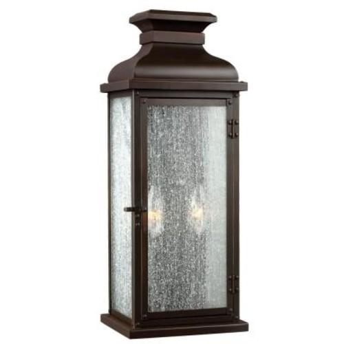 Feiss Pediment 2-Light Dark Aged Copper Outdoor Wall Fixture