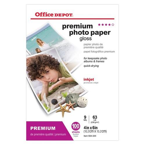 Office Depot Brand Premium Photo Paper, Glossy, 4