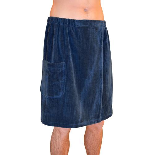 Radiant Sauna Men's Spa & Bath Terry Cloth Towel Wrap - Navy Blue