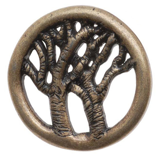 Antiqued Brass Round Button Tree Of Life 29mm (1)