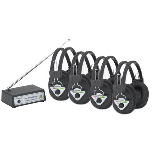 Hamilton Buhl Multi Frequency 4 Station Wireless Listening Center with Headphones and Bluetooth Transmitter