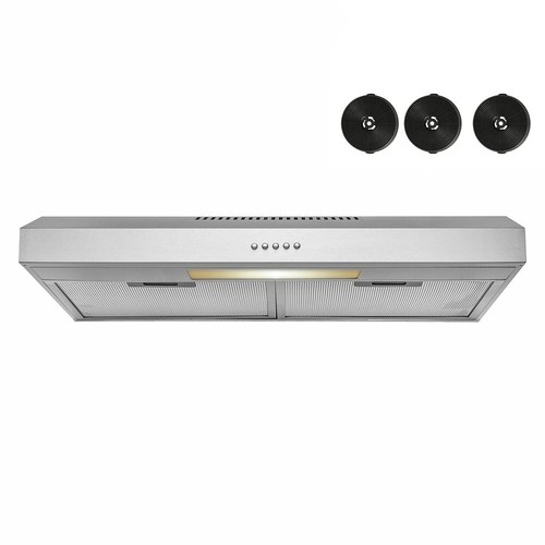 AKDY 30 in. 58 CFM Convertible Under Cabinet Range Hood in Brushed Stainless Steel With Lighting