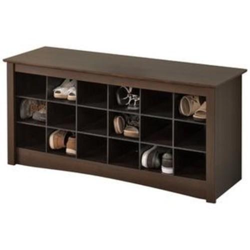 Prepac Shoe Storage Cubbie Bench in Espresso