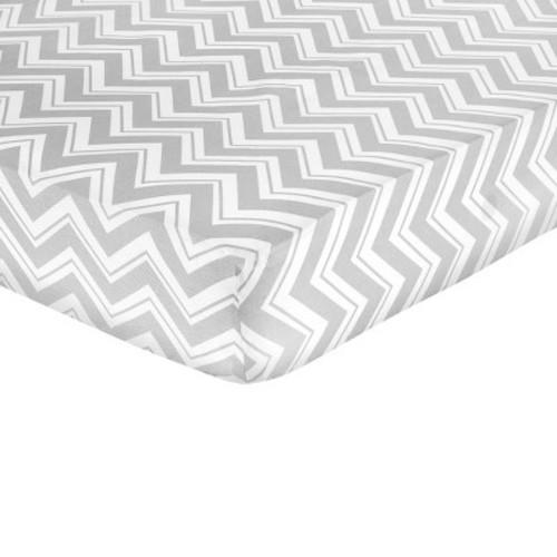 Sweet JoJo Designs Fitted Crib Sheet Turquoise Grey White Zig Zag