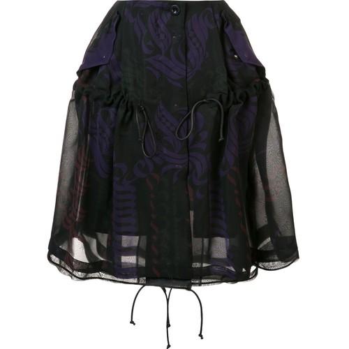 SACAI Calligraphy Print Drawstring Skirt