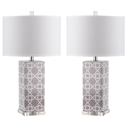 Set of Two Quatrefoil Table Lamps in Grey design by Safavieh
