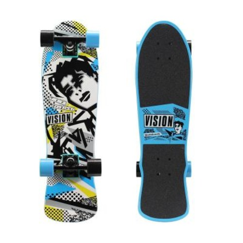 Vision 28 in. Mini Cruiser Skateboard in Blue and White
