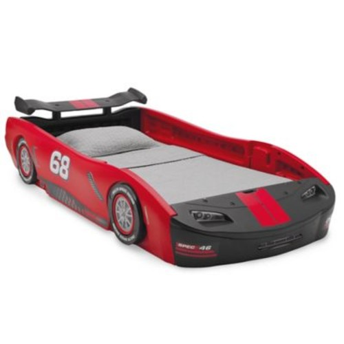 Delta Children Turbo Race Car Twin Bed in Red