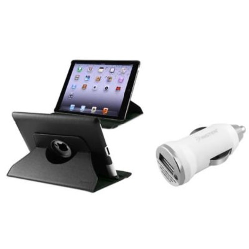 Insten 360 Black Rotating Leather Case Cover+Car Charger Adapter for iPad 3/4 Retina /2 (Supports Auto Sleep/Wake)
