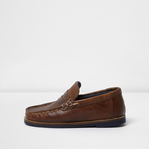 Mini boys brown leather loafers