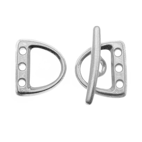 Bright Rhodium Plated Lead-Free Pewter 3-Hole D Ring Toggle Clasp Set 13x15mm (1)
