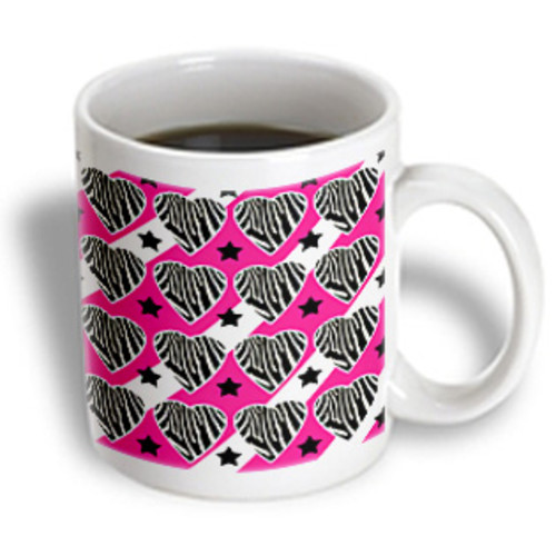 3dRose - Janna Salak Designs Prints and Patterns - Punk Rockabilly Zebra Pink White Black Print - 11 oz mug