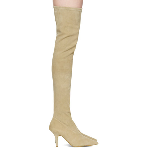 Taupe Suede Thigh-High Boots