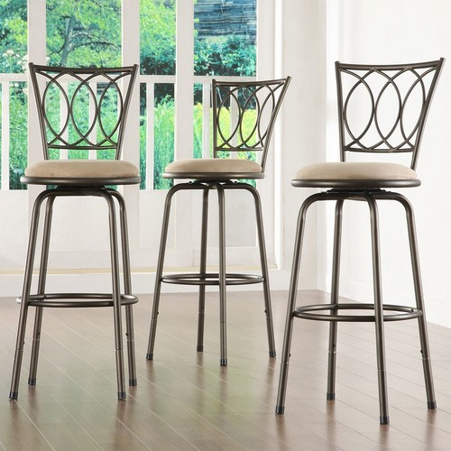 Ethan Home Avalon Scroll-Back Adjustable Swivel Bar Stools (Set of 3)