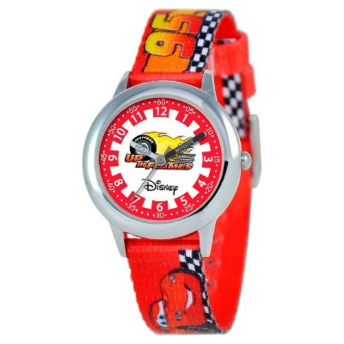 Boys' Disney Cars Stainless Steel Time Teacher Watch - Red