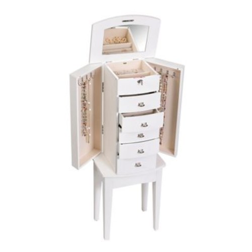 Mele & Co. Hadley Wooden Jewelry Armoire in White