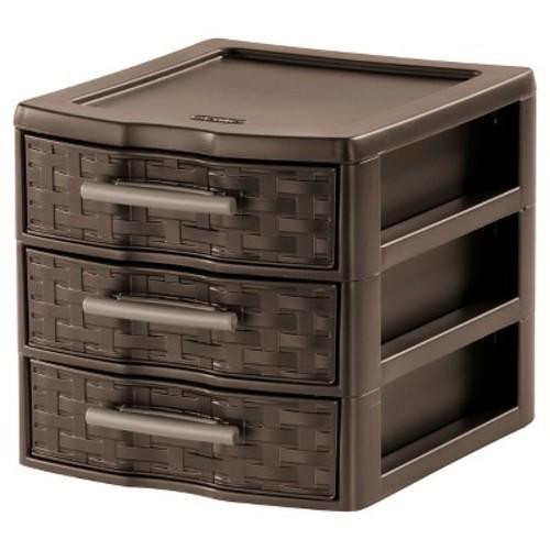 Sterilite Small 3 Drawer Countertop Storage Espresso Weave