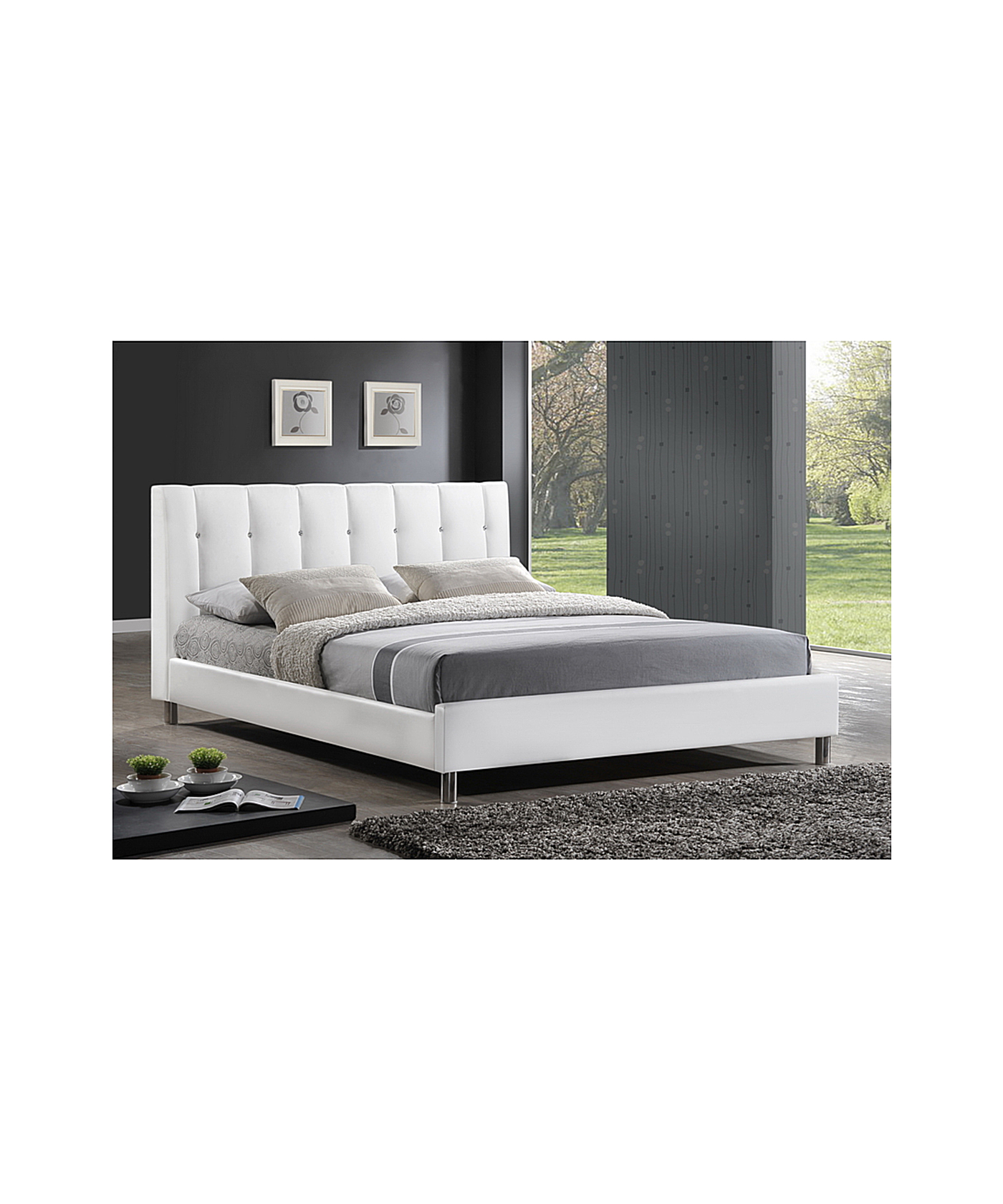 Baxton Studios Vino Modern Bed with Upholstered Headboard