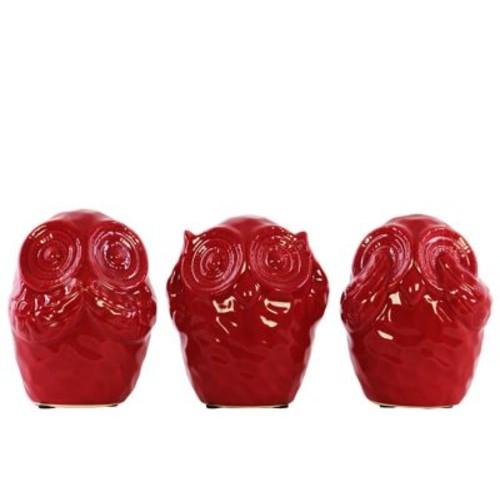 Urban Trends 3 Piece Ceramic Owl No Evil Figurine Set; Red