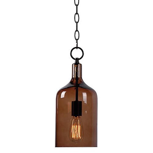 Kenroy Home Capri 1-Light Mini Pendant in Oil Rubbed Bronze With Amber Shade