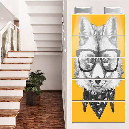 Designart 'Funny Fox with Formal Glasses' Contemporary Animal Glossy Metal Wall Art