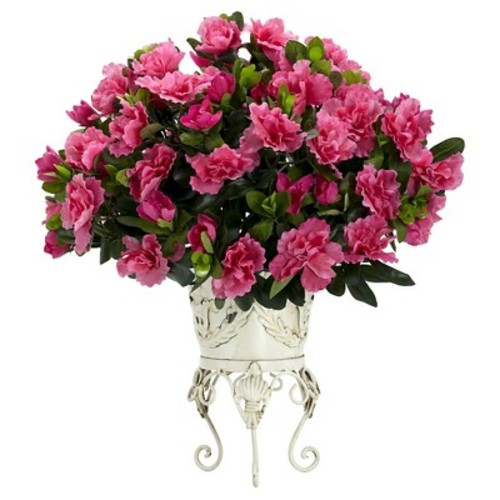 Nearly Natural 19 in. H Pink Azalea with Metal Planter Silk Plant
