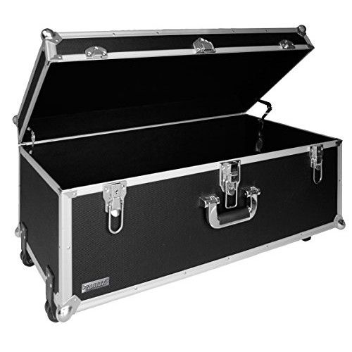 Vaultz 14 x 30 x 16 Inches Locking Extra-Large Storage Chest with Wheels, Black (VZ00355)