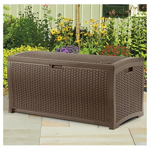 Suncast DBW7300 Mocha Wicker Resin Deck Box, 73-Gallon [Mocha Brown, 73 Gallon]