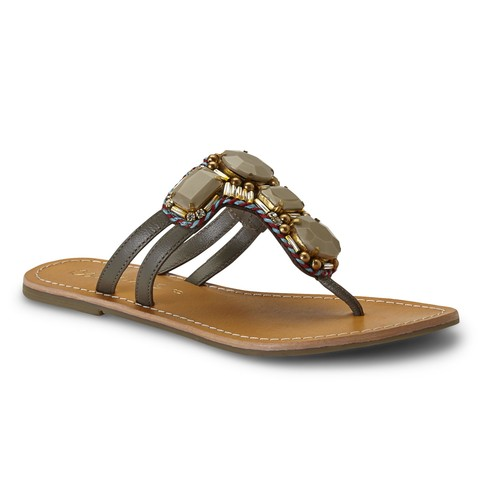 Coconuts by Matisse Women's Cayman Taupe Jeweled Thong Sandal [Width : Medium]