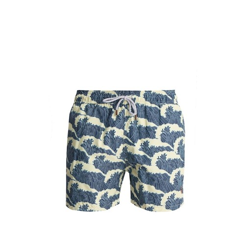 Wave-print swim shorts