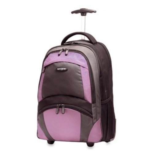 Samsonite 19-Inch Wheeled Backpack in Black/Purple
