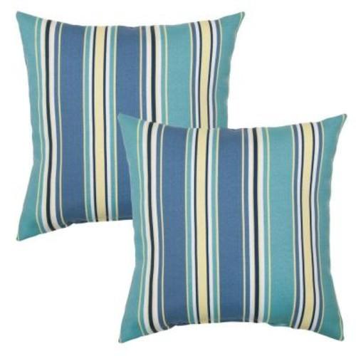 Hampton Bay Rainforest Stripe Square Outdoor Throw Pillow (2-Pack)