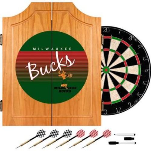 Trademark 20.5 in. Milwaukee Bucks Hardwood Classics NBA Wood Dart Cabinet Set