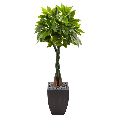 Nearly Natural Indoor Money Artificial Tree in Black Square Planter